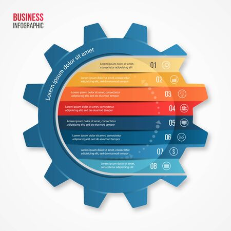 alfa: Vector business and industry gear style circle infographic template for graphs, charts, diagrams and other infographics.