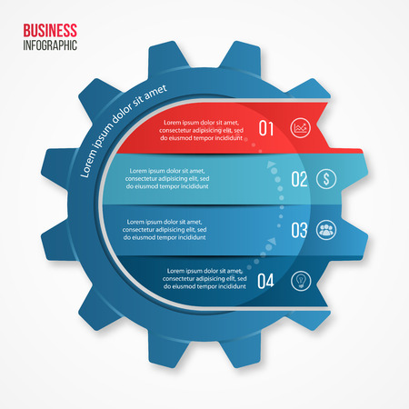 Vector business and industry gear style circle infographic template for graphs, charts, diagrams and other infographics.
