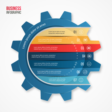 template: ector business and industry gear style circle infographic template for graphs, charts, diagrams and other infographics. Illustration