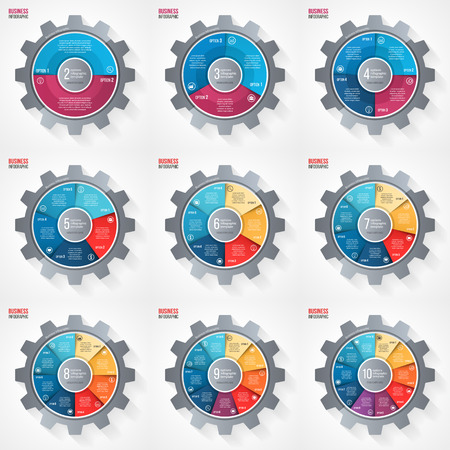 alfa: Vector business and industry gear style circle infographic template set for graphs, charts, diagrams and other infographics.