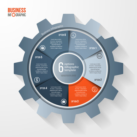 alfa: Vector business and industry gear style circle infographic template for graphs, charts, diagrams and other infographics. Business concept with options, parts, steps, processes. Gear style logo.
