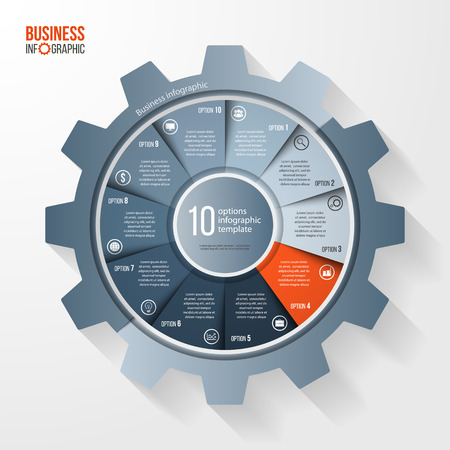 Vector business and industry gear style circle infographic template for graphs, charts, diagrams and other infographics. Business concept with options, parts, steps, processes. Gear style logo.