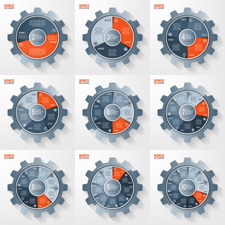 alfa: Vector business and industry gear style circle infographic template set for graphs, charts, diagrams and other infographics. Business concept with options, parts, steps, processes. Gear style logo. Illustration
