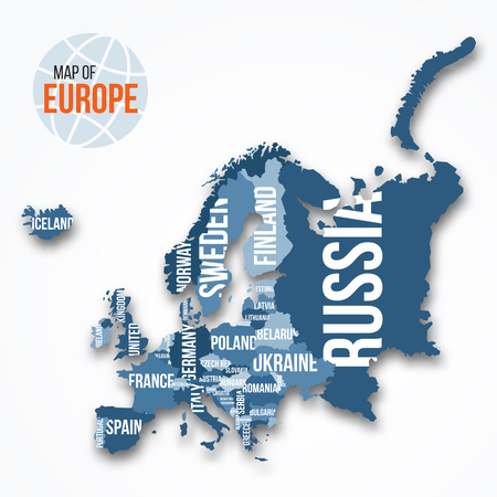 Vector detailed map of Europe with borders and country names. Education, business and travel infographic concept.