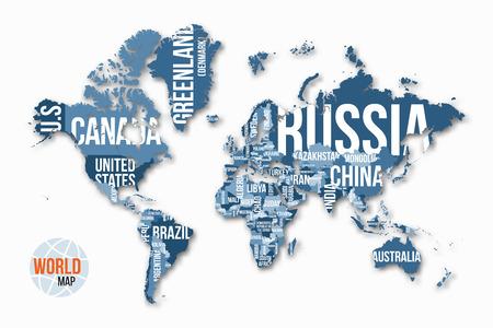 Vector gedetailleerde wereldkaart met randen en landnamen. Onderwijs, zaken en reizen infographic concept.