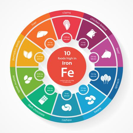 10 voedingsmiddelen met een hoog ijzer. Nutrition infographics. Gezonde levensstijl en voeding illustratie met voedsel pictogrammen. Vector Illustratie