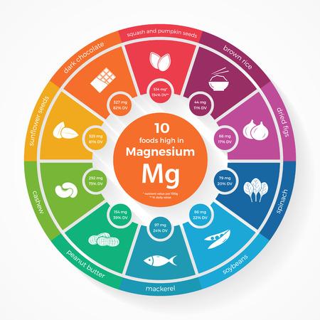 마그네슘 함량이 높은 음식 10 가지. 영양 infographics. 건강 한 라이프 스타일과 다이어트 그림 음식 아이콘. 일러스트