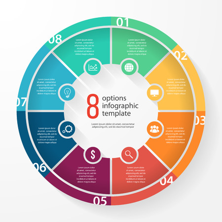 그래프, 차트, 다이어그램 비즈니스 파이 차트 서식 파일. 8 옵션, 부품, 단계, 프로세스 비즈니스 원형 infographic 개념. 일러스트