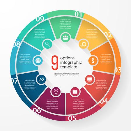 그래프, 차트, 다이어그램 비즈니스 파이 차트 서식 파일. 9 옵션, 부품, 단계, 프로세스 비즈니스 원형 infographic 개념.