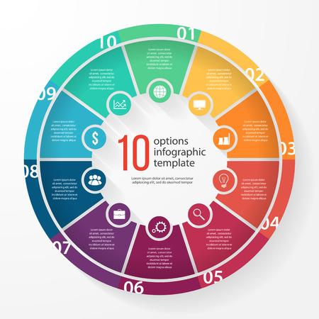 그래프, 차트, 다이어그램 비즈니스 파이 차트 서식 파일. 10 옵션, 부품, 단계, 프로세스 비즈니스 원형 infographic 개념.