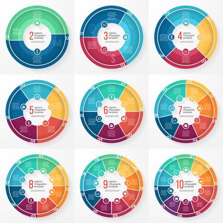 그래프, 차트, 다이어그램 비즈니스 파이 차트 템플릿. 옵션, 부품, 단계, 프로세스와 비즈니스 동그라미 infographic 개념.