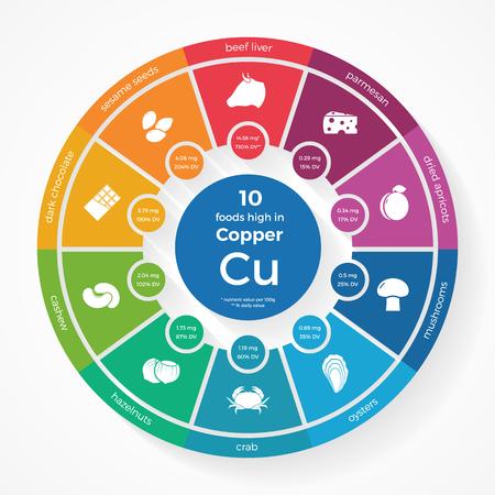 10 voedingsmiddelen met een hoog in Copper. Nutrition infographics. Gezonde levensstijl en voeding illustratie met voedsel pictogrammen.