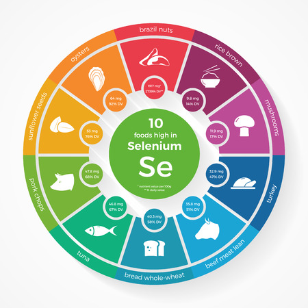 10 foods high in Selenium. Nutrition infographics. Healthy lifestyle and diet illustration with food icons.