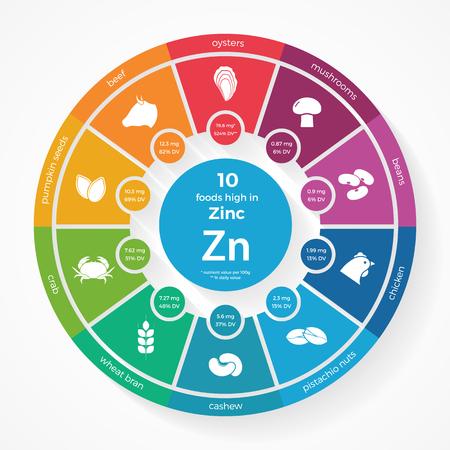 10 亜鉛の高い食品。栄養のインフォ グラフィック。フード アイコンと健康的なライフ スタイルや食生活のイラスト。