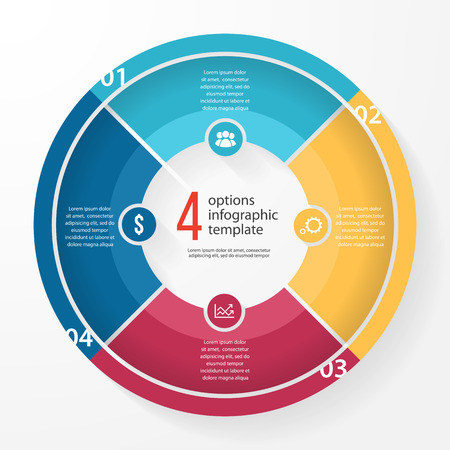 business pie chart template for graphs, charts, diagrams. Business circle infographic concept with 4 options, parts, steps, processes.