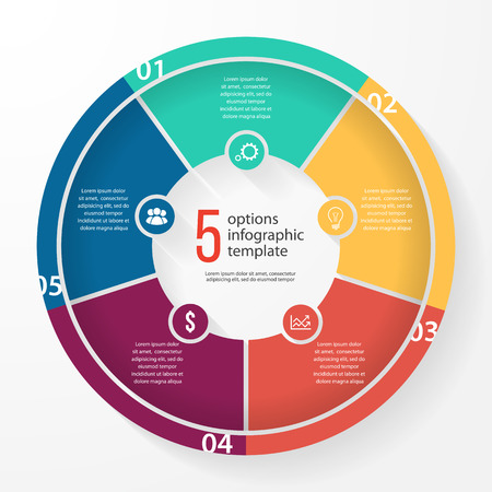 business pie chart template for graphs, charts, diagrams. Business circle infographic concept with 5 options, parts, steps, processes.
