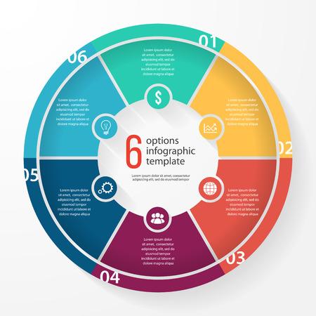 그래프, 차트, 다이어그램 비즈니스 파이 차트 서식 파일. 6 옵션, 부품, 단계, 프로세스 비즈니스 원형 infographic 개념.