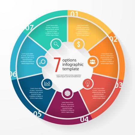 그래프, 차트, 다이어그램 비즈니스 파이 차트 서식 파일. 7 옵션, 부품, 단계, 프로세스 비즈니스 원형 infographic 개념.