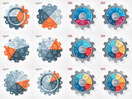 business and industry gear style circle infographic set for graphs, charts, diagrams and other infographics. Pie chart, cycle chart, round chart templates with 3, 4, 5, 6, 7, 8 options, parts, steps, processes. Vettoriali