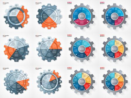 bedrijfsleven en de industrie gear stijl cirkel infographic set voor grafieken, tabellen, diagrammen en andere infographics. Pie chart, cyclus grafiek, ronde diagramsjablonen met 3, 4, 5, 6, 7, 8 opties, delen, stappen, processen. Stock Illustratie