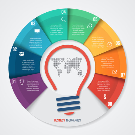 comparing: Vector idea pie chart infographic template for graphs, charts, diagrams. Business concept with 8 options, parts, steps, processes.