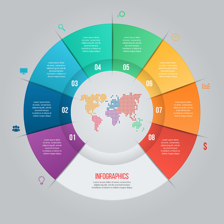 world of work: Vector pie chart template for graphs, charts, diagrams. Business circle infographic concept with 8 options, parts, steps, processes with world map inside.
