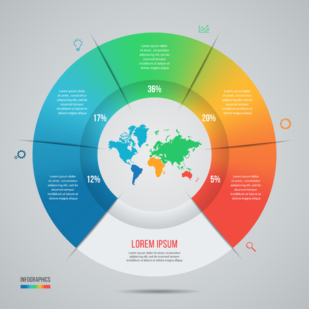Vector pie chart template for graphs, charts, diagrams. Business circle infographic concept with world map with 5 options, parts, steps, processes.