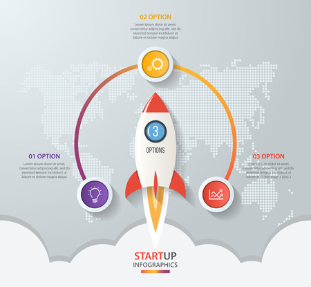Startup vector circle infographics with rocket launch and styled world map. 3 options, parts, steps, processes business concept for graphs, charts, diagrams.