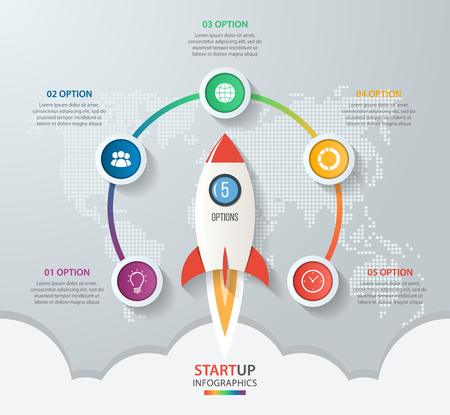 Startup vector circle infographics with rocket launch and styled world map. 5 options, parts, steps, processes business concept for graphs, charts, diagrams. Иллюстрация