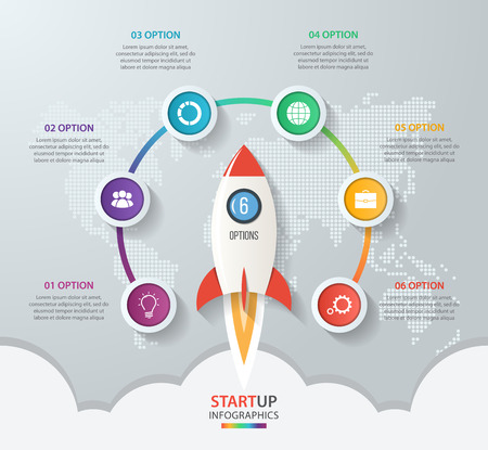Startup vector circle infographics with rocket launch and styled world map. 6 options, parts, steps, processes business concept for graphs, charts, diagrams. Illusztráció