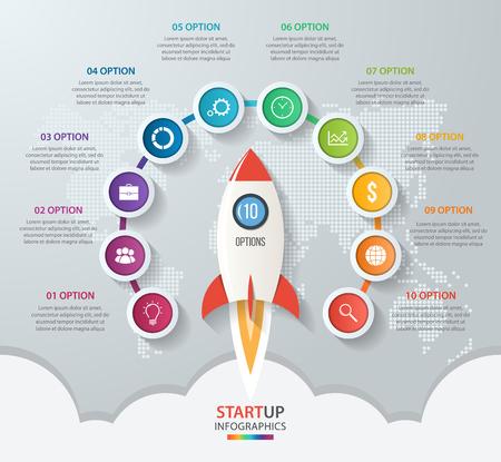 Startup vecteur cercle infographie avec lancement de fusée et carte du monde de style. 10 options, pièces, étapes, processus concept d'affaires pour les graphiques, diagrammes, diagrammes. Banque d'images - 57722318