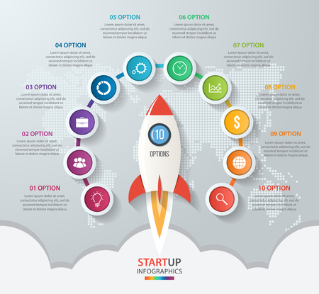 Startup vector circle infographics with rocket launch and styled world map. 10 options, parts, steps, processes business concept for graphs, charts, diagrams.