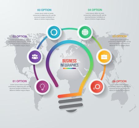 Vector Idee Glühbirne Kreis Infografik Vorlage für Grafiken, Diagramme, Grafiken. Business-Konzept mit 6 Optionen, Teile, Schritte, Prozesse. Standard-Bild - 57722326