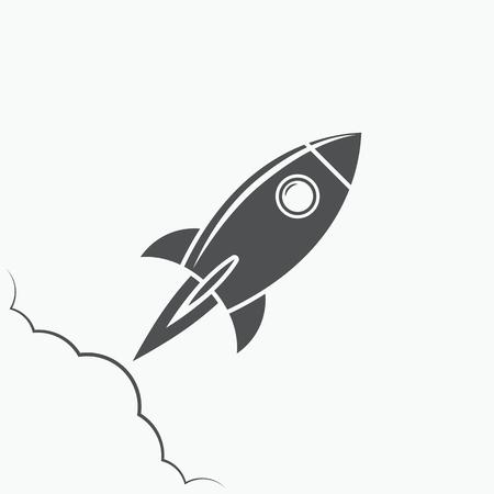 Rocket icon, rocket logo, rocket emblem on white background
