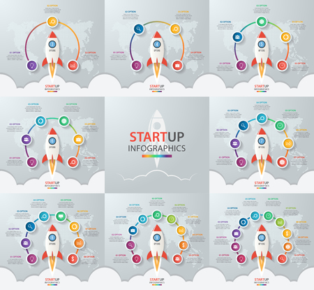 8 9: Startup vector circle infographic set with rocket launch and styled world map. 3, 4, 5, 6, 7, 8, 9, 10 options, parts, steps, processes business concept for graphs, charts, diagrams. Illustration