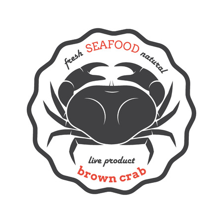 irish sea: Vector brown crab silhouette.  Crab label. Template for restaurants, stores, food packaging. Seafood illustration. Illustration