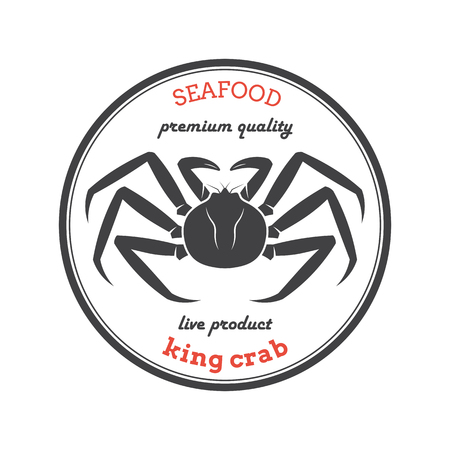 Silhouette de vecteur crabe royal. Étiquette de crabe. Modèle pour restaurants, magasins, emballages alimentaires. Illustration de fruits de mer.
