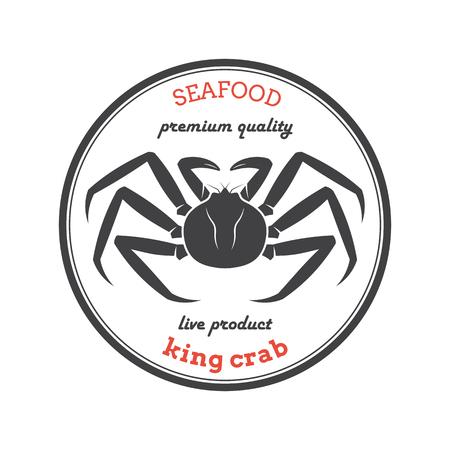 Wektorowa królewiątko kraba sylwetka. Etykieta kraba. Szablon do restauracji, sklepów, opakowań żywności. Ilustracja owoce morza.