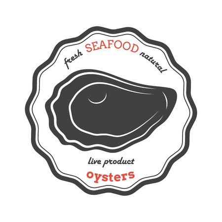 벡터 굴 실루엣입니다. 굴 레이블입니다. 레스토랑, 상점, 식품 포장용 템플릿. 해산물 그림입니다.