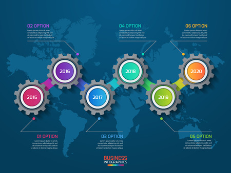 Vector infographic template with gears and world map. Business and industry concept with 6 options, parts, steps, processes. Ilustração