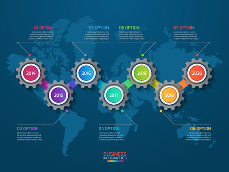 comparing: Vector infographic template with gears and world map. Business and industry concept with 7 options, parts, steps, processes.