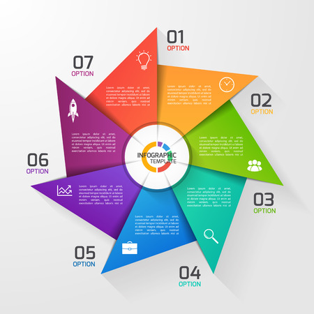 Windmill style circle infographic template for graphs, charts, diagrams. Business, education and industry concept with 7 options, parts, steps, processes.