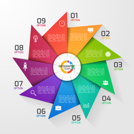 Windmill style circle infographic template for graphs, charts, diagrams. Business, education and industry concept with 9 options, parts, steps, processes. Illusztráció