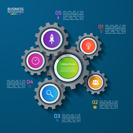 Vector infographic template with gears, cogwheels. Business and industrial concept with 5 options, parts, steps. Can be used for infographics, diagram, graph, presentation, report.