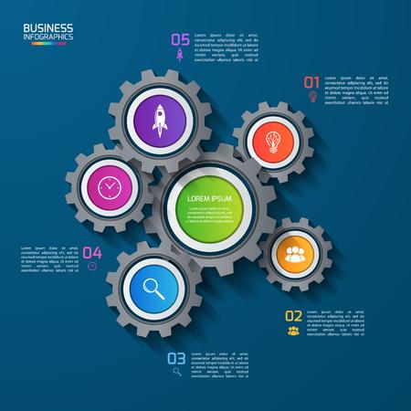 Vector infographique modèle avec des engrenages, des roues dentées. Affaires et concept industriel avec 5 options, parties, étapes. Peut être utilisé pour infographies, diagramme, graphique, présentation, rapport.
