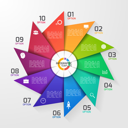 Windmill style circle infographic template for graphs, charts, diagrams. Business, education and industry concept with 10 options, parts, steps, processes. Ilustração Vetorial