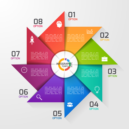 Windmill style circle infographic template for graphs, charts, diagrams. Business, education and industry concept with 8 options, parts, steps, processes.