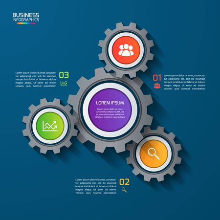 business gears: Vector infographic template with gears, cogwheels. Business and industrial concept with 3 options, parts, steps. Can be used for infographics, diagram, graph, presentation, report.
