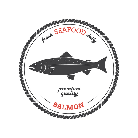 anchovy: Vector salmon silhouette. Salmon label. Template for stores, markets, food packaging. Seafood illustration. Illustration