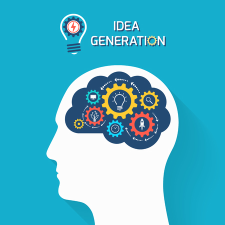 Idea generation and startup business concept. Human head with brain and gears. Infographic template. Vector illustration.